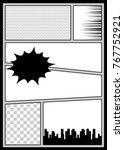 silhouette city boom explosion. ... | Shutterstock .eps vector #767752921