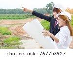businessman surveying land for... | Shutterstock . vector #767758927