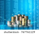 investment concept  coins graph ... | Shutterstock . vector #767761129