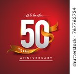 50th anniversary logotype with... | Shutterstock .eps vector #767762734