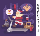 santa claus exercising and... | Shutterstock .eps vector #767764039