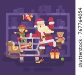 santa claus riding a shopping... | Shutterstock .eps vector #767764054