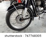 old classic motorcycle front... | Shutterstock . vector #767768305