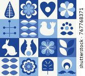 Scandinavian folk style pattern set. Stock vector illustration of finnish nordic swedish norvegian floral elements in blue colors.