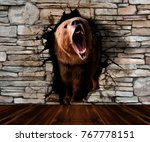 bear coming out of the wall.... | Shutterstock . vector #767778151