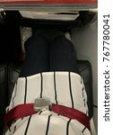 Small photo of The seatbelt is set in the passenger seat in airplane for convenience and safety in every flights.