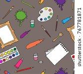 seamless pattern hand drawn... | Shutterstock .eps vector #767781871