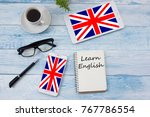 learn english concept. time to... | Shutterstock . vector #767786554