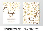 chic holiday cards with gold... | Shutterstock .eps vector #767789299