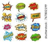 pop art comic bubbles vector... | Shutterstock .eps vector #767802199