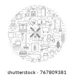 farming background. farm... | Shutterstock .eps vector #767809381