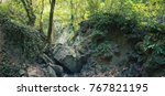 the river bed of the mountain... | Shutterstock . vector #767821195