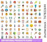 100 natural products icons set. ... | Shutterstock .eps vector #767822644