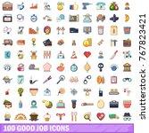 100 good job icons set. cartoon ... | Shutterstock .eps vector #767823421