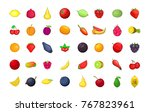 fruits icon set. cartoon set of ... | Shutterstock .eps vector #767823961