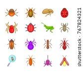 bugs icon set. cartoon set of... | Shutterstock .eps vector #767824321