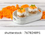 persimmon creamy trifle in... | Shutterstock . vector #767824891