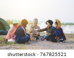 teacher and students camping... | Shutterstock . vector #767825521