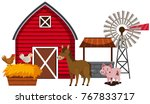 farm animals and red barn... | Shutterstock .eps vector #767833717