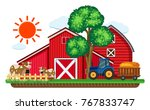 big red barns and two cows in... | Shutterstock .eps vector #767833747