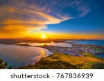 jeju city skyline and twilight...   Shutterstock . vector #767836939