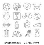 health and fitness line icons... | Shutterstock .eps vector #767837995