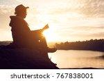 silhouette of happy old women... | Shutterstock . vector #767838001