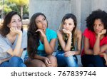 group of disappointed girls... | Shutterstock . vector #767839744