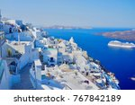 view from fira  santorini... | Shutterstock . vector #767842189