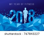 2018 my year of fitness new... | Shutterstock .eps vector #767843227