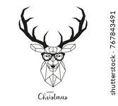 hipster deer with glasses.... | Shutterstock .eps vector #767843491