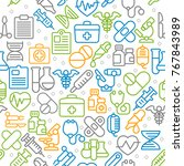 medical line icons background ... | Shutterstock .eps vector #767843989