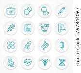 round blue medical icons on... | Shutterstock .eps vector #767844067