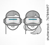 people in virtual reality... | Shutterstock .eps vector #767844697