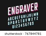 modern engraved font vector... | Shutterstock .eps vector #767844781