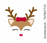 Stock vector cute reindeer baby deer merry christmas cartoon character girl with red bow vector illustration 767847715