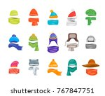 Cartoon Color Winter Hats And...