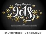 vector illustration  2018 hand... | Shutterstock .eps vector #767853829