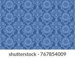 seamless blue wallpaper pattern.... | Shutterstock .eps vector #767854009