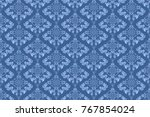 seamless blue wallpaper pattern.... | Shutterstock .eps vector #767854024