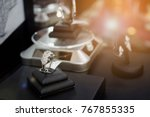 diamond rings with blank price... | Shutterstock . vector #767855335