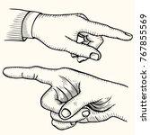 set of pointing finger  hands.... | Shutterstock .eps vector #767855569