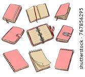 vector set of cartoon pink... | Shutterstock .eps vector #767856295