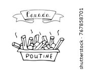 hand drawn doodle poutine icon... | Shutterstock .eps vector #767858701