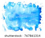 abstract blue watercolor stains ... | Shutterstock . vector #767861314