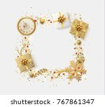 design christmas frame with... | Shutterstock .eps vector #767861347