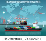 cargo sea port with cargo... | Shutterstock .eps vector #767864347