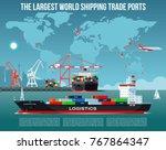 cargo sea port with cargo... | Shutterstock .eps vector #767864347