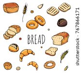 breadhand drawn doodles of... | Shutterstock .eps vector #767866171