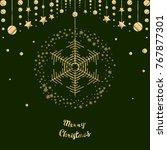 christmas snowflake vector icon ... | Shutterstock .eps vector #767877301